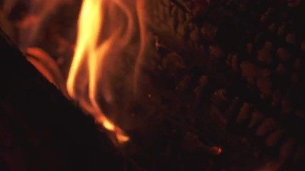Close up of flames and fiery coals.