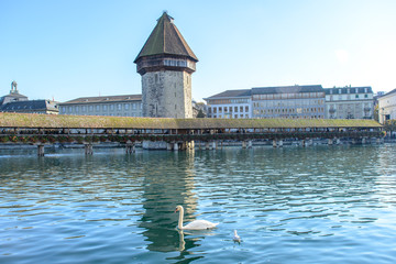 View of the famous Chapel Bridge in Lucerne, Switzerland