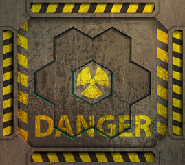 illustration frame, radiation sign,danger