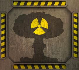 illustration frame, radiation sign,nuclear explosion