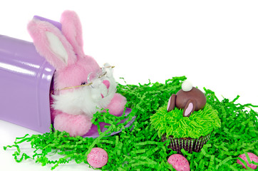 Easter bunny with cupcake and candy eggs