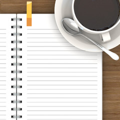 White cup of hot coffee and white sketch book on wood table