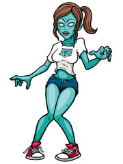 Vector illustration of Cartoon Female zombie