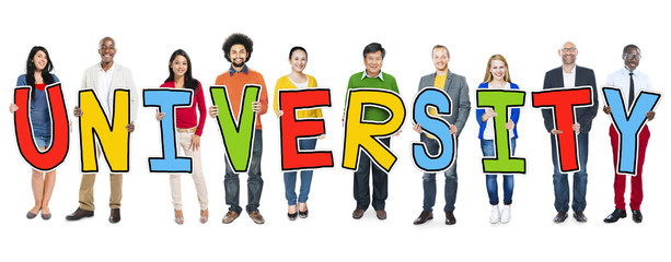 Diverse People Holding Text University Concept