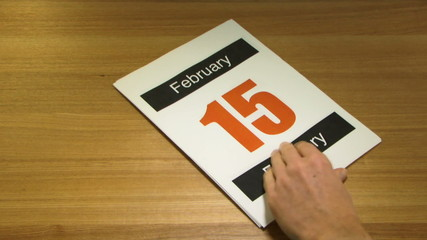 WS, Time lapse, Fast forward turning pages on Calender on office desk