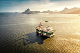 Oil drilling rig against panorama of Rio De Janeiro, Brazil
