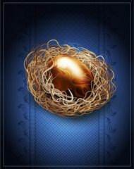 vector easter, vintage background with a golden egg in the nest