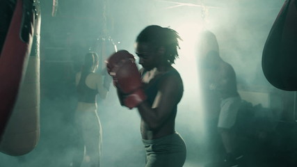 Group of Boxers Training in a Group. Female in the foreground.