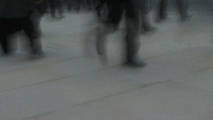 Time lapse of business people walking