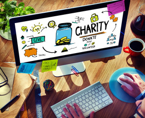 Working Computer Support Give Help Donate Charity Concept