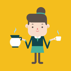 Character illustration design. Businesswoman drinking coffee car