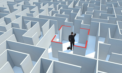 Businessman stands in center of maze. Make a difficult decision.