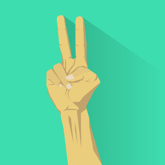 Peace sign with hand