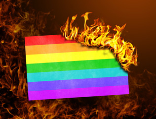 Flag burning - Rainbow flag
