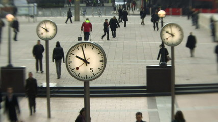 MS, Time lapse, People walking in Canary Wharf, London, England