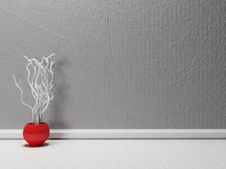 red vase with the branches,