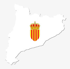 catalonia map with coat of arms