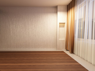 empty room in warm colors,