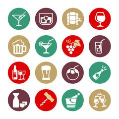 Alcohol drink - web icon set