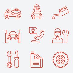 Car service icons, thin line style, flat design