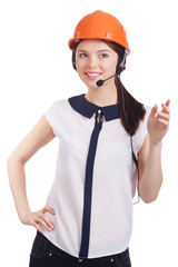 Smart young business woman with hard helmet