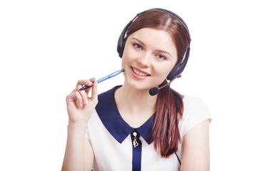 Cheerful young support phone operator