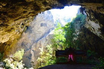 ancient Thai pavilion in the cave
