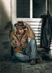 Tramp man smoking and drinking alcohol