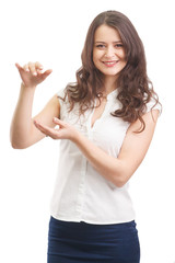 Woman showing something with two hand isolated on white