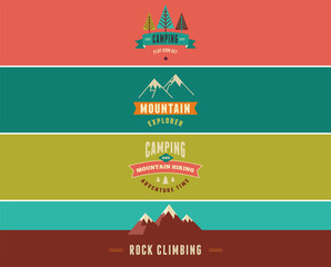 Hiking, camp banners, backgrounds and elements