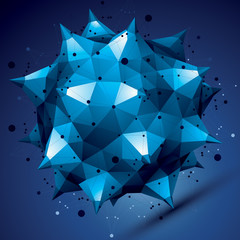 3D vector abstract design object, bright polygonal complicated f