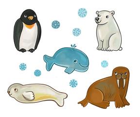 коллекция животных Севера. медведь, тюлень, пингвин, морж, кит