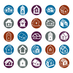 Houses abstract icons, can be used in advertising and as brandin