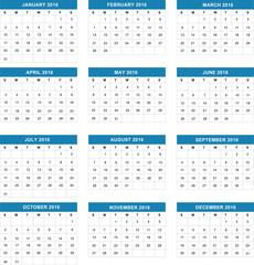 Simple calendar 2016.Vector illustration