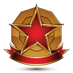 Golden vector stylized round symbol with red glamorous pentagona