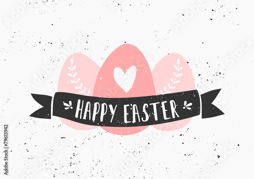 Hand Drawn Easter Greeting Card Template - 79613942