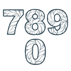 Single color ornate beautiful vector digits, numbers with eco fl