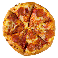 Pepperoni pizza isolated on white with clipping path