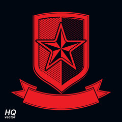 Vector shield with a red pentagonal Soviet star, protection hera
