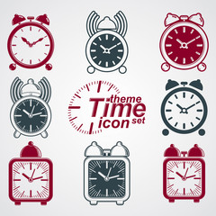 Vector squared 3d alarm clocks with clock bell, decorative wake