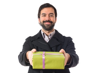 Man leaning a gift