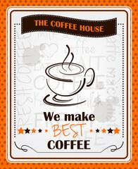 Vintage coffee menu poster vector design