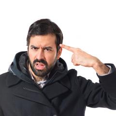 Man making crazy gesture