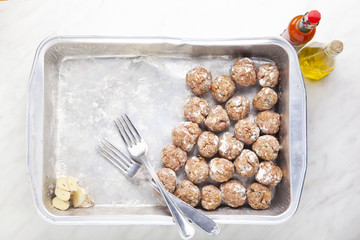 meatball on baking tray