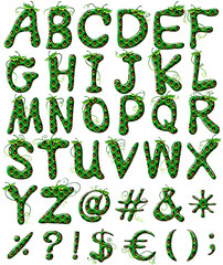 Capital letters of the alphabet in green color