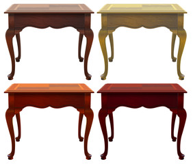 Four wooden tables
