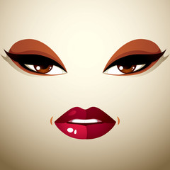 Face makeup, lips and eyes of an attractive woman displaying pas