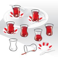 Traditional Turkish Tea. Vector, illustration. Set