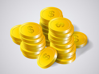 Money. Stacks of Gold Coins and success in Business, isolated