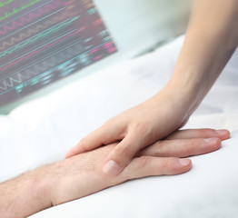 Handshake in hospital care and support concept